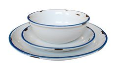 """Tinware Dinnerware - mimicking vintage metalware, the canvas tinware grouping is made of stoneware, complete with realistic distressed edges and a contrasting rim stripe. Our Tinware collection is handmade, microwave and dishwasher safe, and also oven friendly.  Cereal Bowl;  Salad Plate 8"""";  Dinner Plate 11""""."""