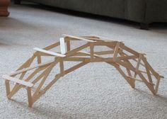 Basic Arch Popsicle Stick Bridge – Garrett's Bridges: Resources to Help You Build a Model Bridge Popsicle Bridge, Popsicle Stick Bridges, Popsicle Stick Houses, Popsicle Stick Crafts For Kids, Craft Stick Crafts, Fun Crafts, Popsicle Art, Stem Projects, Projects For Kids