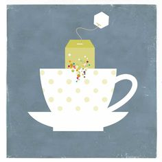 Tea Cup Blue Print Kitchen Art Print Canvas Art by shlomitsart Tea Illustration, Happy Drink, Dining Room Art, Tea Quotes, Tea And Books, Cafe Art, Cuppa Tea, Tea Tins, Tea Art