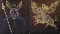 Waldorf ~ 4th grade ~ Norse Mythology ~ Odin ~ Freya ~ chalkboard drawing