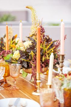 orange and blush candles for your fall wedding table