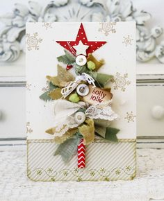 Holly Jolly Card by lilybeanpaperie Way to use up ribbon scraps. Use the bottle brush method to twist the ribbon on to wire. Christmas Paper Crafts, Christmas Gift Tags, Xmas Cards, Christmas Projects, Handmade Christmas, Holiday Crafts, Christmas Fabric, Diy Cards, 242