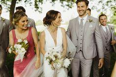 A Modern Farm Wedding at Zingerman's Cornman Farms Light Grey Suits Wedding, Grey Tuxedo Wedding, Wedding Tux, Farm Wedding, Wedding Attire, Wedding Dresses, Gray Groomsmen Suits, Gray Weddings, Wedding Images