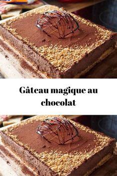 Gâteau magique au chocolat Découvrez la recette la plus facile et délicieuse de gâteau magique au chocolat,  une excellente idée de dessert léger et rapide.  Difficulté: simple | Nombre de personne: 8 | Durée: 20 min | Coût: pas_cher