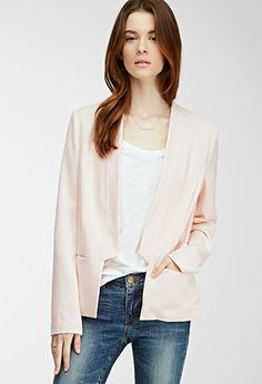 Notched Open-Front Textured Blazer | Forever 21 - 2000099907