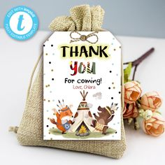 Tribal Wild One Thank You Tags, Boho Woodland Animals, Party Instant Download Printable Template Editable YOU PRINT Thank You For Coming, Thank You Tags, Wild Ones, Woodland Animals, Printable, Place Card Holders, Templates, Boho, Birthday