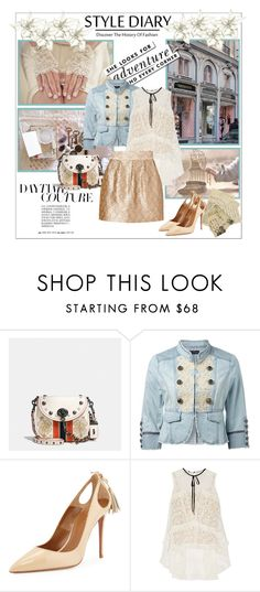 """Daytime Couture"" by johannamaria37 ❤ liked on Polyvore featuring Coach, Kate Spade, Forever New, Aquazzura, Erdem, Paul & Joe Sister, MINISKIRT, lacetop, denimjackets and militaryjacket"