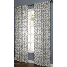 allen roth oberlin l light filtering geometric lt blue back tab window curtain panel