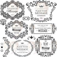 Swirl Borders Decorative Flourishes Retro Silhouette Horizontal Square Fancy Signage Frames Design Wedding Twirl Foliage Motif Clipart 10158 #FancySignage #WeddingFrames #WeddingDesign