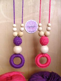 Collares de lactancia con algodón suave y antialérgico. Breastfeeding necklaces, soft anti-allergic cotton.