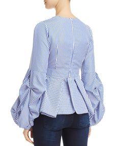 Alpha and Omega Striped Bell-Sleeve Top Denim Fashion, Cute Fashion, Look Fashion, Hijab Fashion, Fashion Dresses, Fashion News, Blouse Styles, Blouse Designs, Moda Chic