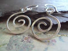 Hand Hammered Sterling Swirl Earrings  Silver by ElementsbyJulie, $24.00