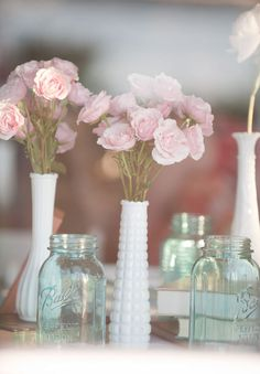 ooohhh now this is what im going for...I have the milk glass and the mason jar.