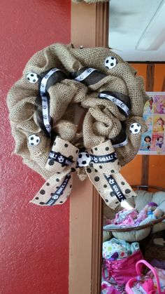 Soccer wreath...  eh...close, but TOO much burlap.