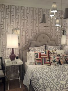 grey jonathan adler bedroom - headboard, lamps and mirrors...love that headboard