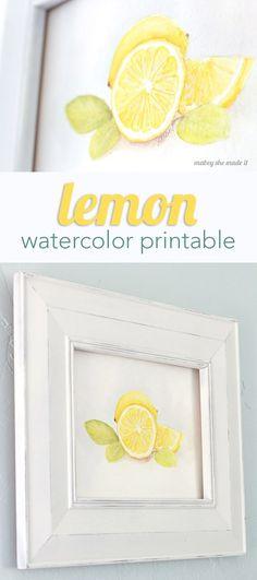 Lemon Watercolor Printable - Capturing Joy with Kristen Duke Lemon Kitchen Decor, Kitchen Art, Country Kitchen, Kitchen Yellow, Country Cooking, Kitchen Island, Kitchen Ideas, Tips And Tricks, Lemon Watercolor
