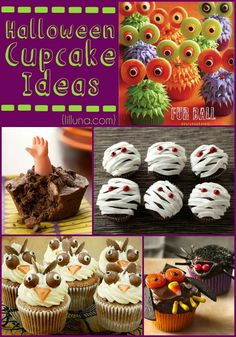Halloween Cupcake Ideas (Part 1) - all of these ideas are SOO fun and adorable. Not to mention they look delcious!!! { lilluna.com }