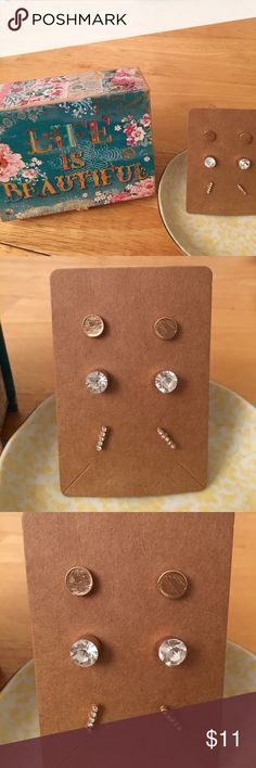 Three Pairs of Earrings Multi-Shapes & Sizes Three Pairs of Earrings Multi-Shapes & Sizes Boutique Jewelry Earrings