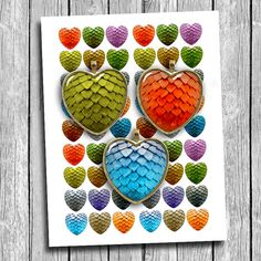 Dragon Eggs Heart Shaped images Digital Collage by MobyCatGraphics