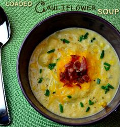 Loaded Cauliflower Soup is a great alternative to high calorie, loaded potato soup