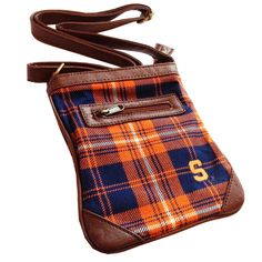 Ticket Bag - Syracuse University $34.99 Tartan and leather adjustable strap purse. Wear it cross body and on gameday or any day. Fits a phone and wallet and other small items. This Product Makes a Great Holiday Gift for any Syracuse Orange fan!