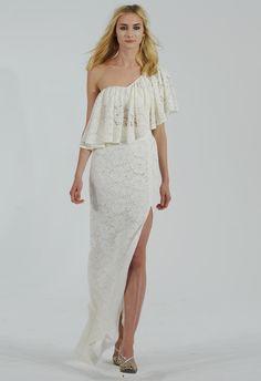 Ruffled Lace One-shoulder Wedding Dress  | Houghton Bride Fall/Winter 2015 | Blog.theknot.com