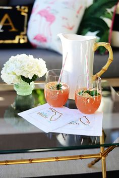Palm Beach Lately's signature drink includes bubbly, topped with fresh grapefruit juice, a splash of St. Germain and a sprig of herbs.