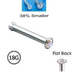 316L Surgical Steel Nose Bone Ring Micro 1.5mm Aurora AB Gem 18G FREE Nose Ring Backing NRB. $5.99