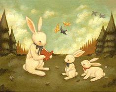 Bunny Rabbit, Nursery Art Print for Baby and Children, Children's Art, Kids Decor, Cute, Kids Art , Book, Story, Reading - The Bunny's Tale