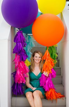 There's something really quite magical about these gorgeous tasseled balloons from Float. Based in Brisbane, the Float team take a com. Big Balloons, Jumbo Balloons, Birthday Balloons, Floating Balloons, Colourful Balloons, Balloon Tassel, Balloon Bouquet, Balloon Garland, Diy Party Decorations