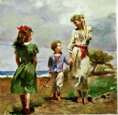 Giuseppe Dangelico Pino (1939-) : SEASIDE RETREAT(signed : 41 x 41 cm) #childer…