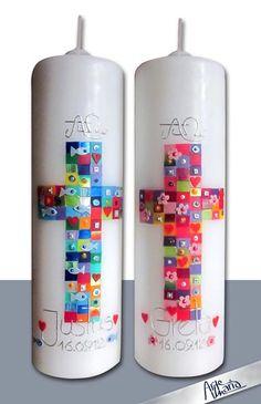 """Taufkerzen - Künstler-Taufkerze/ Zwillinge """"Alle deine Farben"""" - ein Designerstück von arte-maria bei DaWanda"""