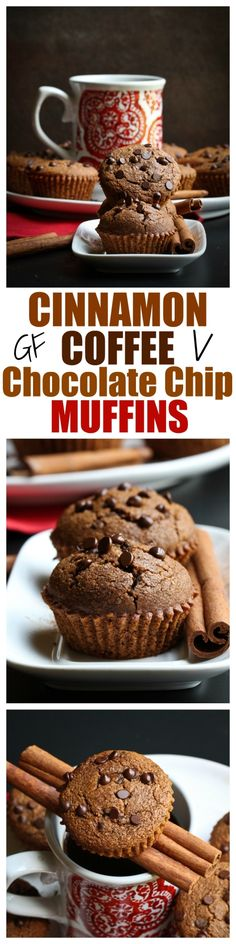 "Your mind will be blown by how amazing these ""Gluten-Free Cinnamon Coffee Chocolate Chip Muffins"" are at JUST 8 ingredients, dairy-free,oil-free and SO full or rich, robust flavor! 