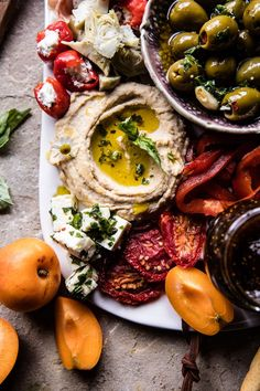 Greek Inspired Antipasto Platter I like this one with the dips not in bowls, but probably too messy. Food Platters, Cheese Platters, Chutney, Antipasto Platter, Meze Platter, Half Baked Harvest, Appetisers, Greek Recipes, Hawaiian Recipes