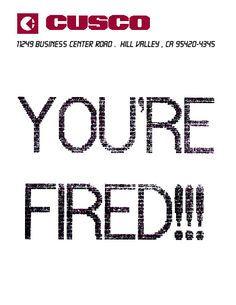 "Back to the Future part 2 - ""You're Fired"" fax from Needles to Marty"