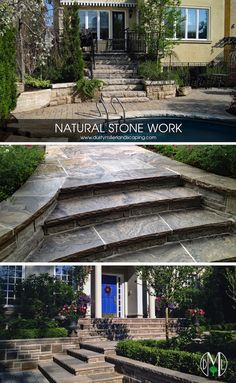 Our highly skilled old world style approach to detailed natural stonework has our competitors in awe of our ability to create masterpieces from raw stone materials found all over the world. Our team of qualified stone masons can create intricate stone BBQ surrounds, outdoor kitchens, fireplaces, patios, seat walls, pillars, retaining walls, steps, walkways, driveways or curbs, all with the highest degree of workmanship. Garden Paving, Hillside Landscaping, Retaining Wall Steps, Outside Steps, Stone Bbq, Front Stairs, Landscape Steps, Concrete Stairs, Sloped Garden