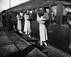 British soldiers departing for Egypt kiss their loved ones goodbye, 1935