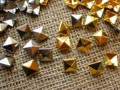 50 X Gold & Silver Metal 10mm Pyramid Studs ( GS50A ) in Crafts, Sewing, Trimmings | eBay