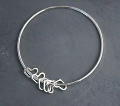 Hearts Sterling Silver Bangle