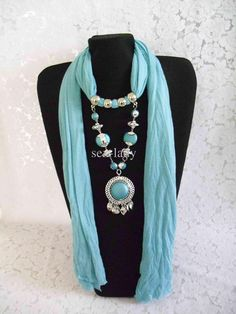 Exotic hand painted silk scarves, high quality silk head scarf, boutique black silk scarf of various kinds provided by sex-lady are the best choices of dhl free 2012 amazing scarf jewelry pendant scarves elegant fringed design scarves grace. Scarf Necklace, Fabric Necklace, Scarf Jewelry, Fabric Jewelry, Diy Necklace, Pendant Jewelry, Beaded Jewelry, Turbans, Mode Hijab