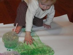 Bubble Art  Every child LOVES to blow bubbles in their cup! This activity is not only fun, its great for oral motor skills.    What you will need:  1/4 C tempera paint  1/4 C dish soap  1/2 C water  straws  canvas or bulletin board paper - or just a nice sidewalk or porch (it washes off)