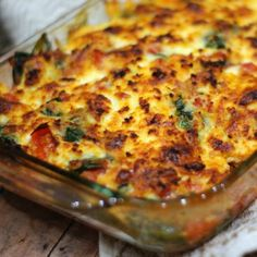 Roasted eggplant, juicy red tomatoes and fiber rich baby spinach come together deliciously in this cheesy bake.