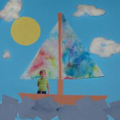 Sailboat: kids picture craft for summer.  Sun: Depending on kids' ages, trace a circle and have them cut it out. Clouds: Stretch cotton balls and glue them down. Sails: Cut coffee filters into triangles. Have kids color them with markers. Spray the filters with water and let them dry. Water: Have kids cut strips of blue into squares. shapes, colors, art