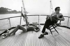 Peter Sellers & Britt Ekland out on the sea. A perfect combination of style and grace. (c1960)
