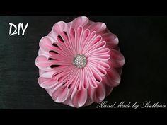 Цветок из ленты Канзаши DIY Flower of ribbon Kanzashi - YouTube