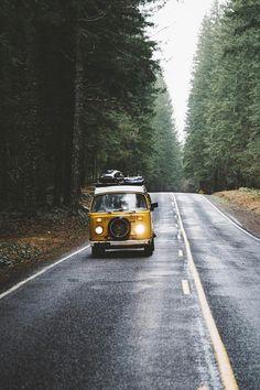 traveling with a Volkswagen yellow van