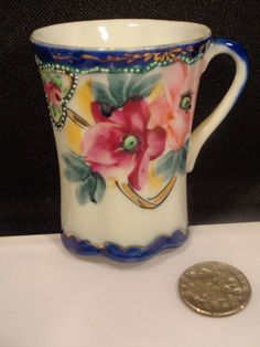 Vintage Nippon Colbalt Blue Demitasse Cup w/ raised dotted paint and Gold Trim #Nippon