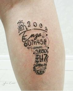 "Baby Tattoo [ "" Name and birth stats in a footprint shape"", ""Too cute! But in English for mine."", ""I love this"" ] # # #Baby #Tattoos, # #Family #Tattoos, # #Tatoos, # #Baby #Hand #Tattoo, # #Tattoos #For #Babies, # #Mama #Tattoo, # #Love #Tattoos, # #Baby #Birth, # #Tattoo #Time"