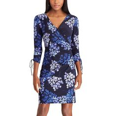 78c55b50e1d Neiman Marcus Short-Sleeve Floral-Print Neoprene Midi Dress