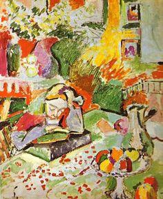 """""""Interior com uma menina"""", óleo por Henri Matisse (1869-1954, France)"""